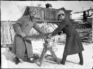 Царь Николай и царевич Алексей пилят дрова